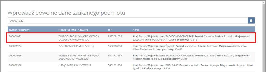 Wyszukaj TOM-DOLEKO-EKOLA na liście organizacji